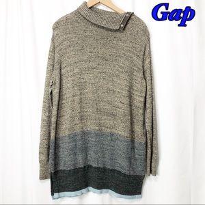 Gap-Tan Marl Dark Gray Blue Tunic Sweater LG